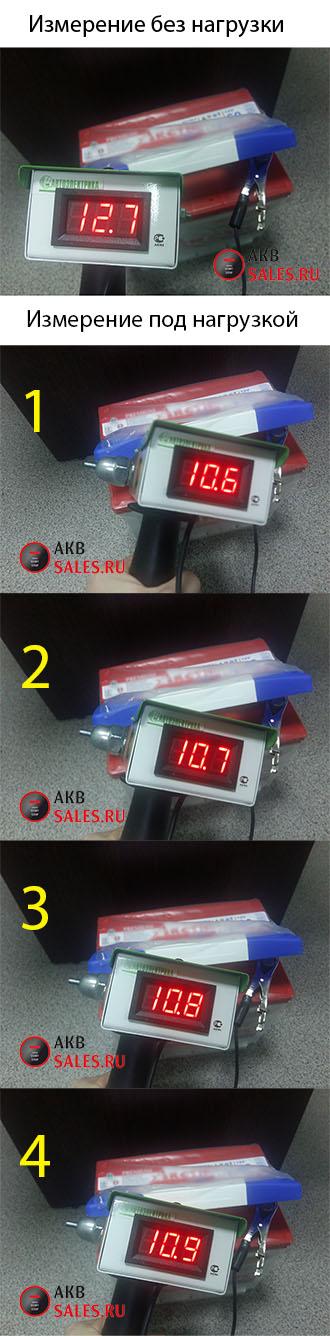 измерение нагрузочной вилкой акб